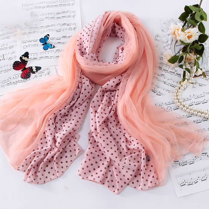 Lovely sweet polka dot spell color patchwork scarf female spring and autumn long section of double scarf scarf scarf korean version of the authentic