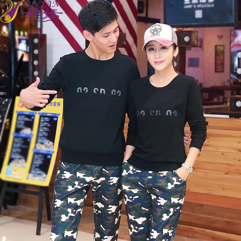 Lovers autumn 2016 new round neck long sleeve casual sports suit fashion suit two sets of men and women in camouflage fatigues