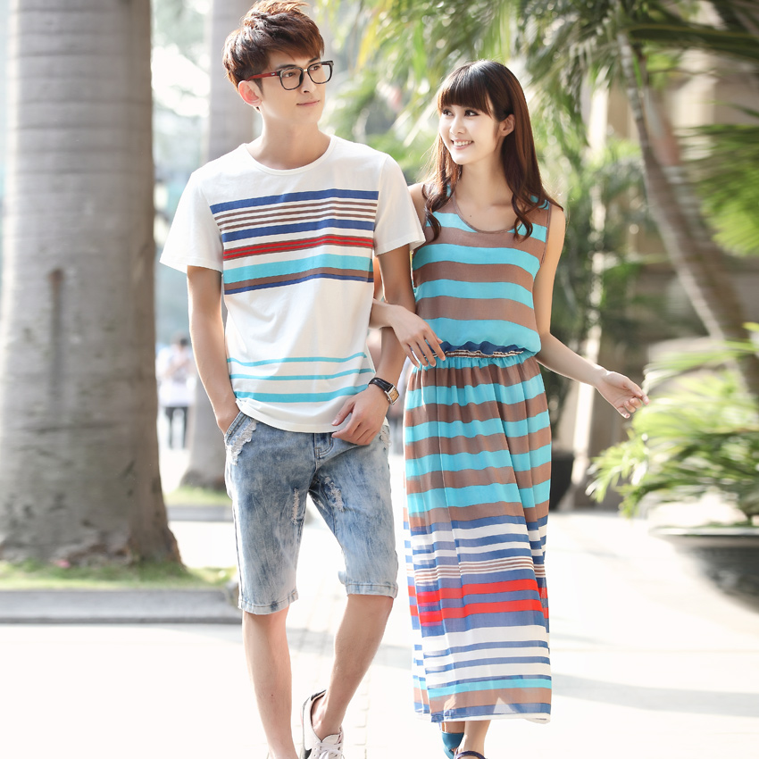 Lovers summer 2016 new south korean summer korean short sleeve t-shirt large size women's beach dress grace yet