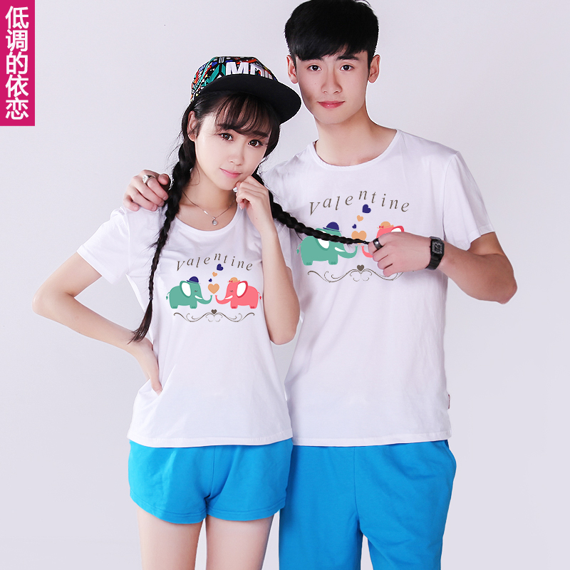 Lovers summer suit 2016 new korean couple short sleeve half sleeve t-shirt class service men and women summer shorts
