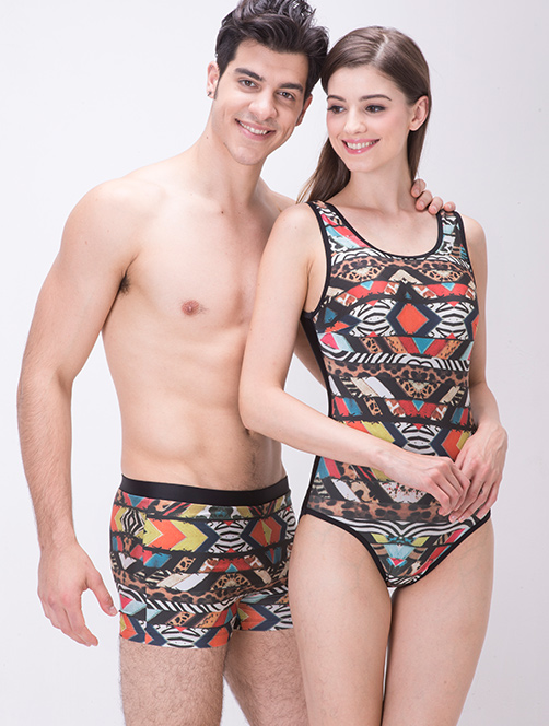 Love's beloved brand couple models darvin printing comfortable sexy men's swimming trunks boxer swim trunks swimming trunks