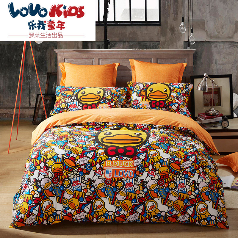 Lovo produced carolina textile kids cotton denim cotton bedding a family of small yellow duck joy tide duck