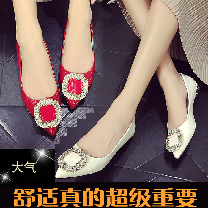 Low heel flat shoes singles pointed shoes shallow mouth rhinestone square buckle red bridesmaid wedding shoes work shoes tide 2016 spring and autumn