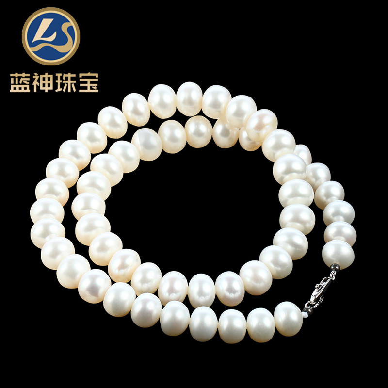 Ls/blue god full glare oblate natural freshwater pearl necklace jewelry for her mother to send her mother a gift