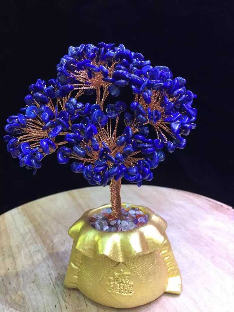 Ltsj natural lapis lazuli crystal natural crystal wishing tree pachira lucky tree pachira tree ornaments