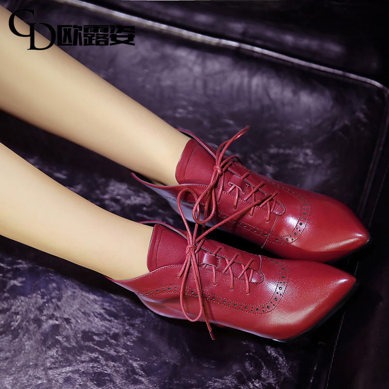 Lu tzu burgundy pointed lace boots martin influx of women boots high heels leather boots slope with boots women w06