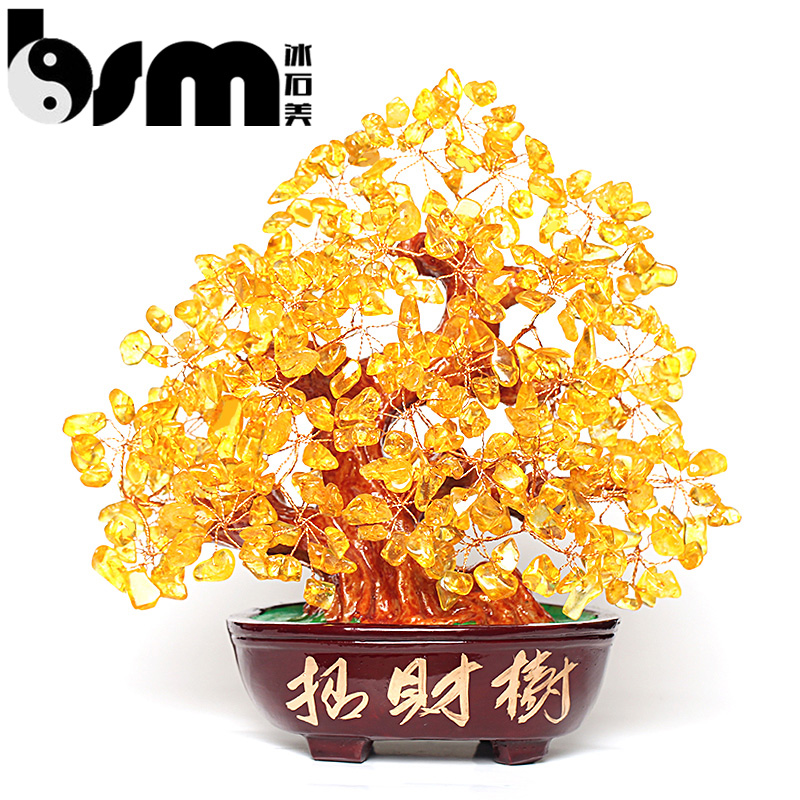 Lucky citrine crystal tree ornaments pachira living room cooler small ornaments home crafts creative shake the money tree