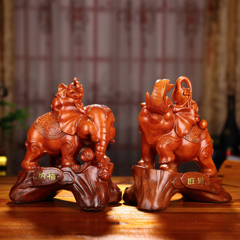 Lucky elephant ornaments one pair of home decorations living room wine cabinet tv cabinet entrance feng shui ornaments crafts gifts