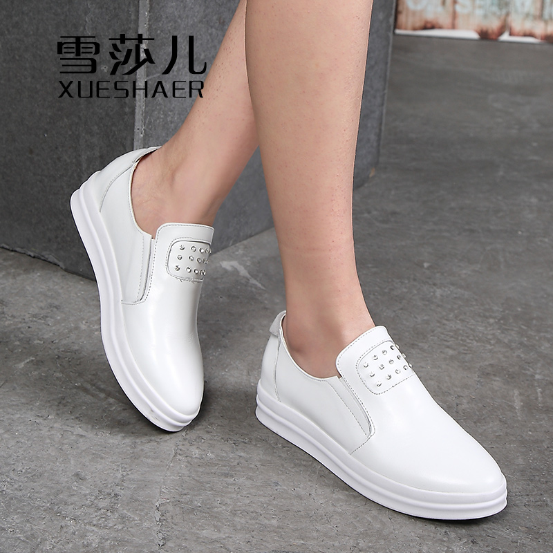 Lufthansa children 2016 spring and autumn korean version of the carrefour shoes women shoes leather shoes round casual shoes to help low set foot elevated