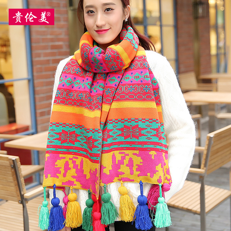 Lun mei expensive wool scarves korean female winter thick warm winter scarf jacquard scarf bohemia