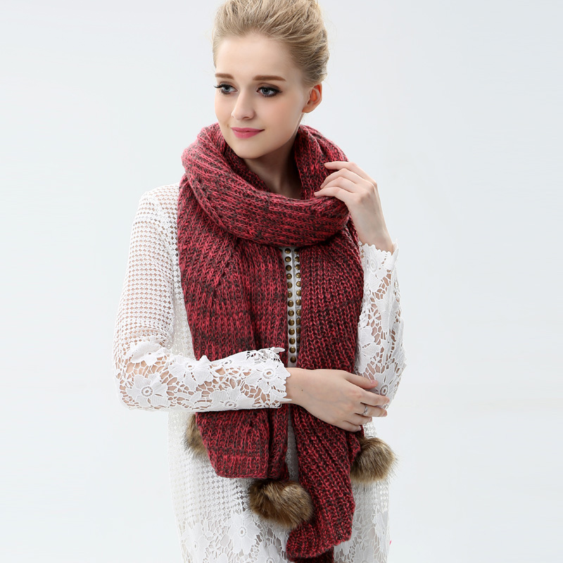 Lun mei expensive wool scarves ms. female korean tidal fall and winter rabbit fur balls warm scarf knitted scarf