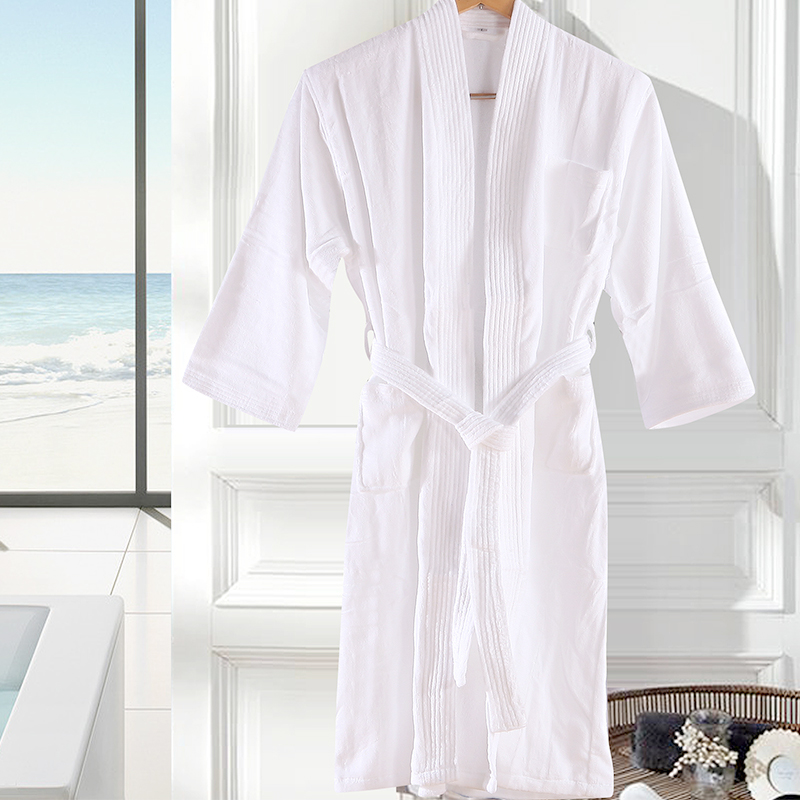 ce5c2e5e22 Get Quotations · Luo ruiou textile sleep star hotel bathrobe male ms.  summer breathable absorbent clothing white cotton