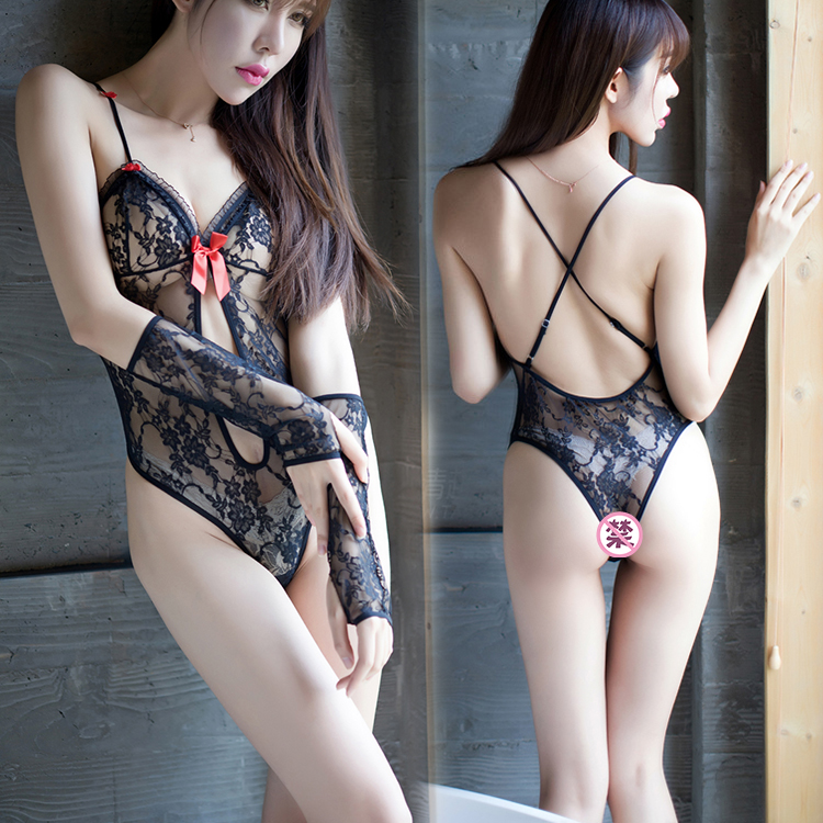 Luo ying exquisite full lace sexy transparent leotard 8601 sling deep v sexy lingerie chest a hollow xm