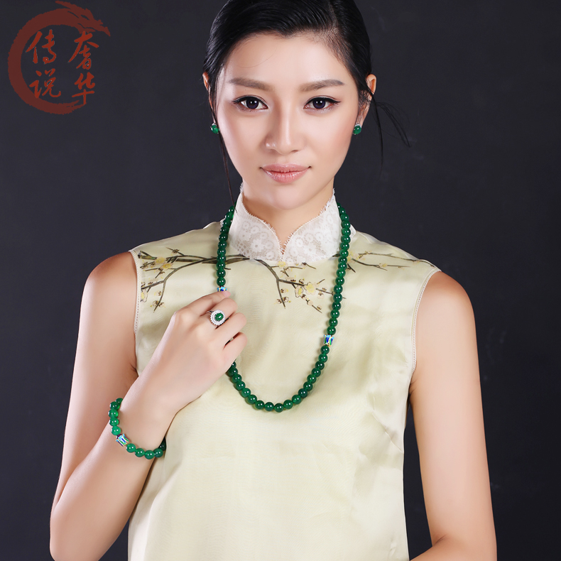 Luxury legend/legend luxury natural crystal green chalcedony agate beads necklace sweater chain to send cards