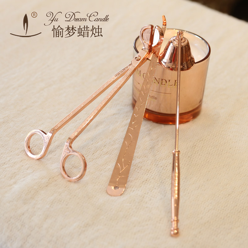 Luxury rose gold candles candles tools scissors high temperature plating never fade off candle cover fire hook
