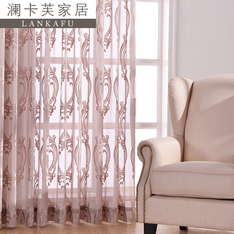 Luxury upscale popular euclidian flocking screens gauze curtains finished custom screens minimalist balcony yarn specials