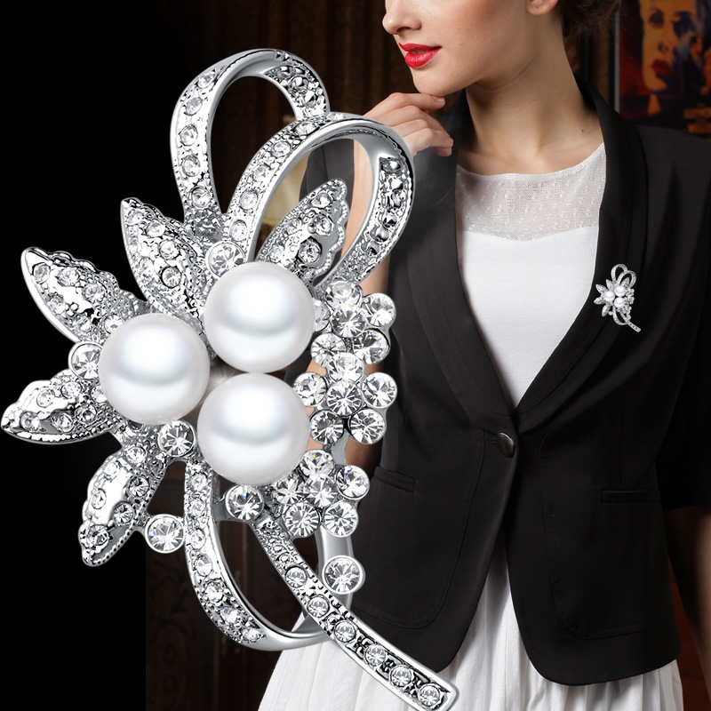 4bf8db4b4eb Get Quotations · Lydie kana new imitation pearl brooch crystal brooch  female upscale fashion brooch with jewelry gift girlfriend