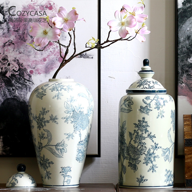 China porcelain flower vase china porcelain flower vase shopping get quotations lying fruit soup new chinese flower pattern jingdezhen ceramic antique blue and white porcelain vase floral mightylinksfo