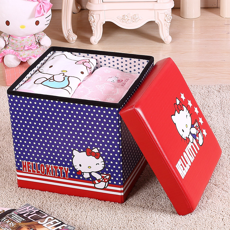 [Lynx supermarket] court house hello kitty imitation leather storage stool stool multifunctional storage box