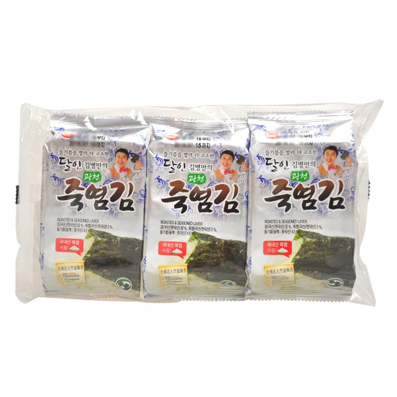[Lynx supermarket] south korean imports of all people bamboo salt seaweed 4g * 3 package crispy and delicious ages Suitable for all ages