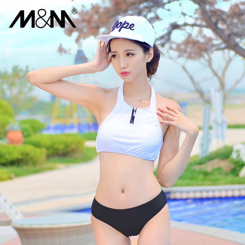 M & m2015 new south korean female swimsuit small chest gather steel prop ms. conservative swimsuit split was thin student