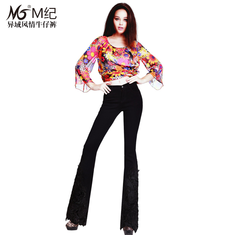 M ji 2016 hitz national wind luxury beaded embroidered jeans female weila jeans female trousers
