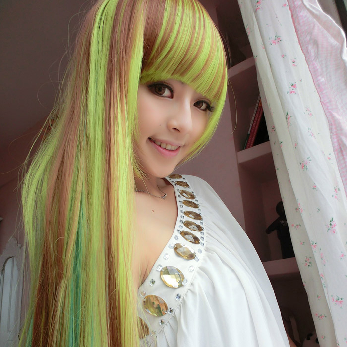 [Magic] fa sector japanese harajuku color streaked wig entire top wig liu qi long straight hair color gradient