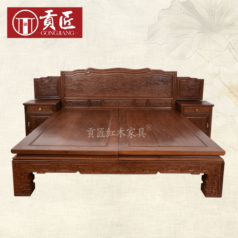 Mahogany furniture wenge archaized neoclassical double bed all solid wood bed 1.8 m wood bed/bunk bed
