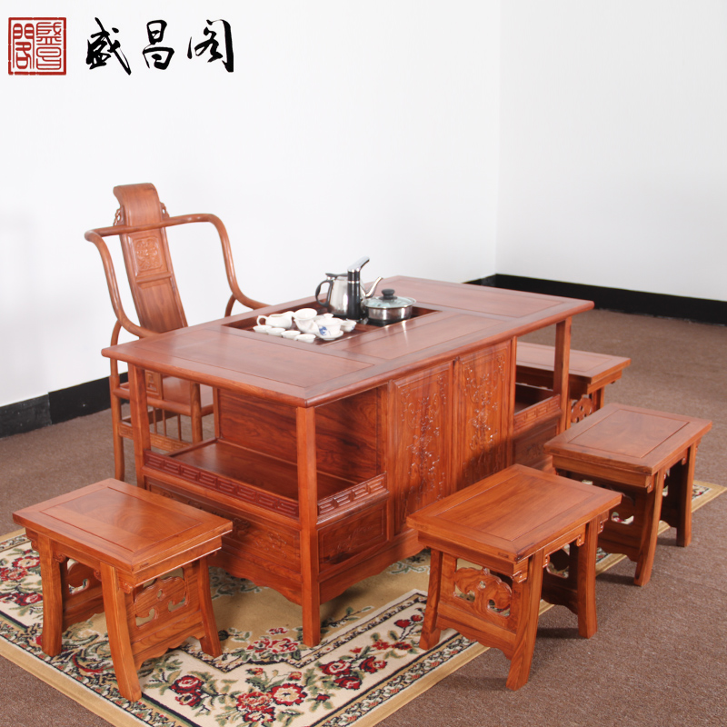 Mahogany tea table and chair combination of wood kung fu tea sets special hedgehog rosewood rosewood mahogany tea table antique wood furniture