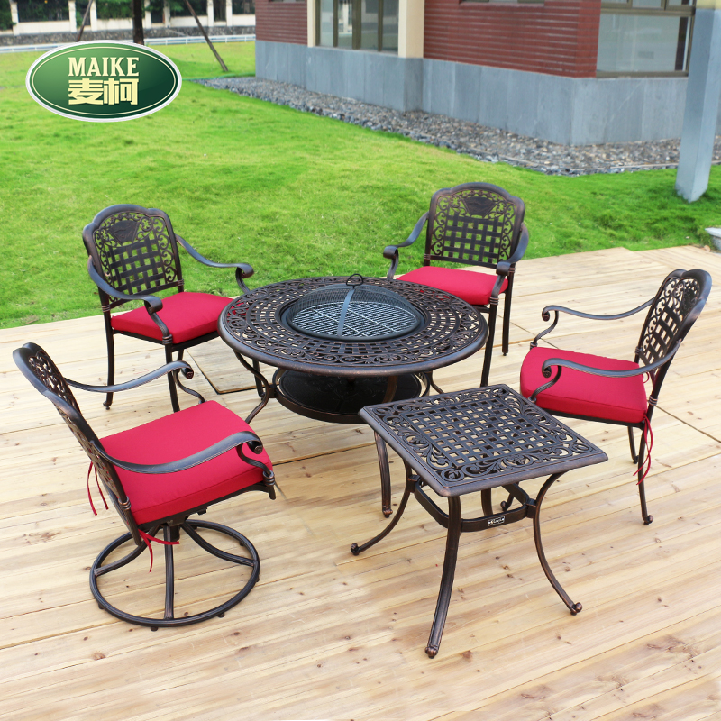 Maike outdoor grill outdoor balcony patio chairs leisure furniture cast aluminum tables and chairs home five sets