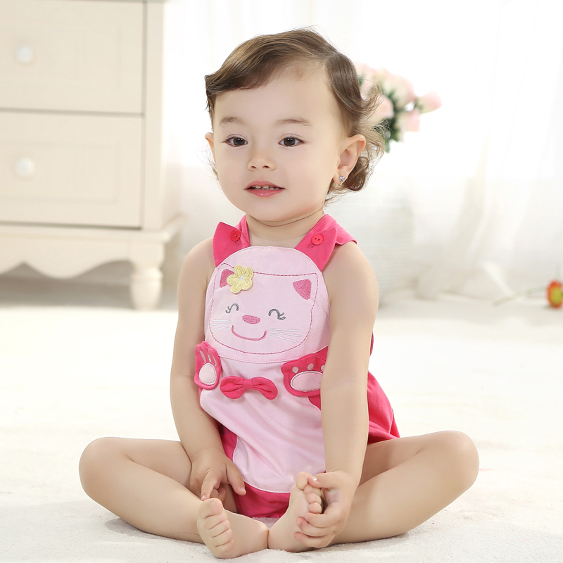 Male and female baby cotton baby coveralls summer triangle climbing clothes siamese romper 0-1-2-year-old one under the age of summer