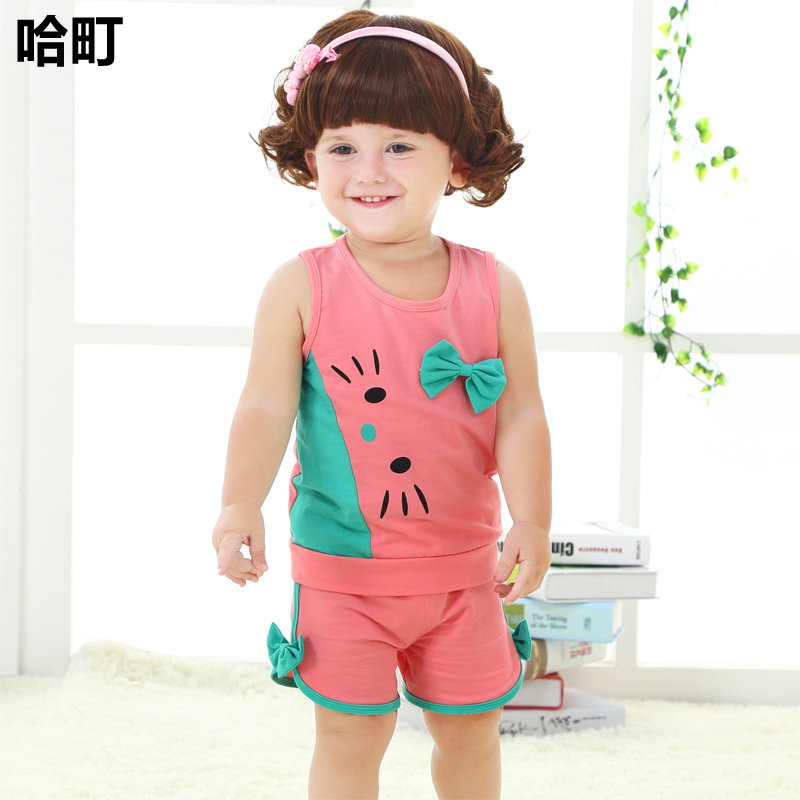 Male and female baby summer 0-1-2-3-year-old summer cool sleeveless vest suit 8 months infant children's clothing