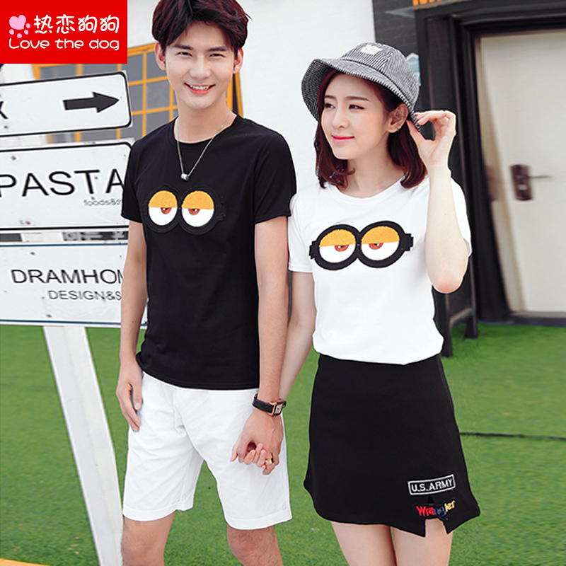 Male and female lovers summer 2016 korean version of casual shorts skirts short sleeve t-shirt junior high school students sports suit class service