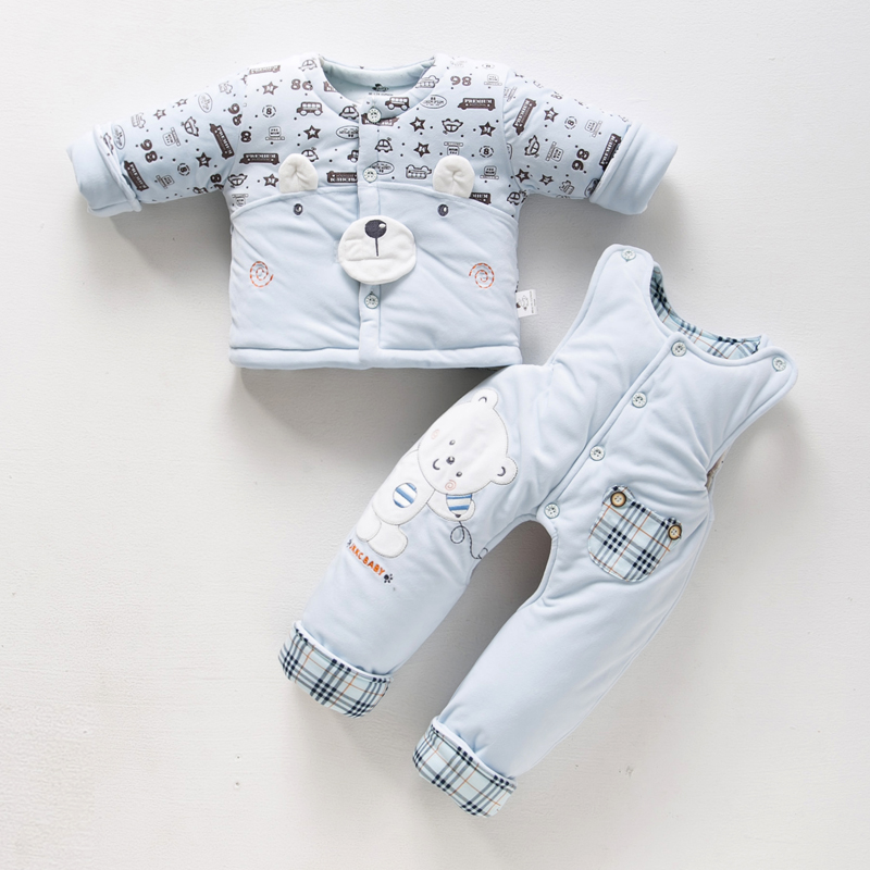 Male baby fall and winter thick cotton baby suit baby suit overalls fall and winter clothes winter clothes 0-1-2-year-old