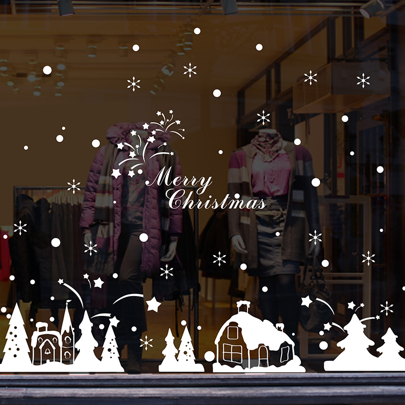 get quotations mall restaurant glass wall decals stickers decorative snowflake christmas snow christmas window sticker decorations cabin - Christmas Decals For Glass