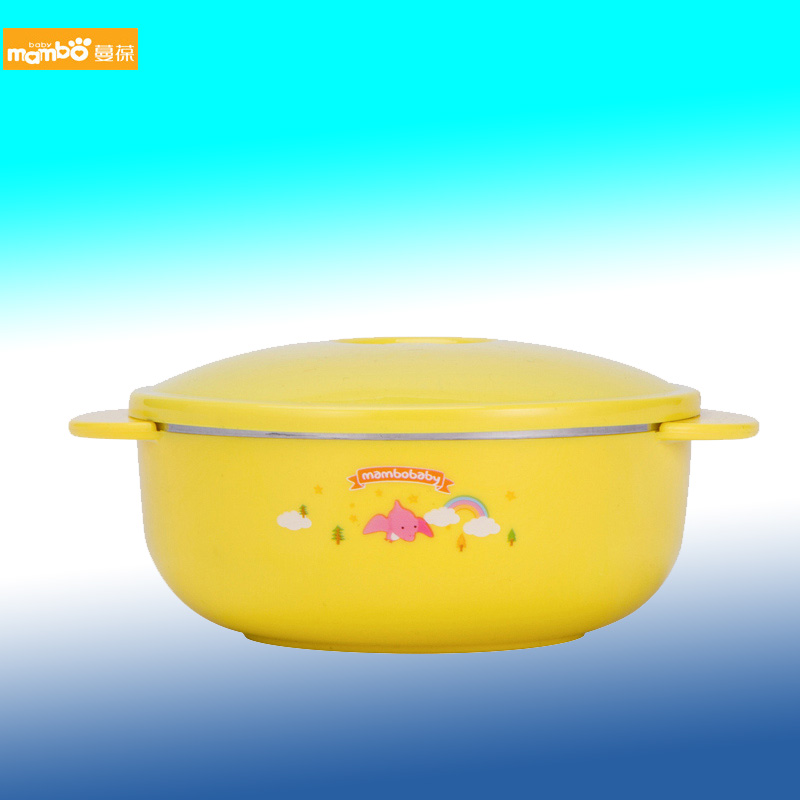 Man bao children tableware bowl stainless steel bowl ears flat double handle baby child insulation against hot bowl bowl single