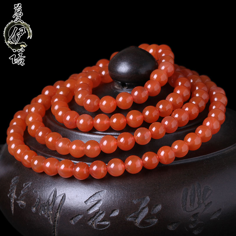 Man eno liangshan south onyx original stone bracelet bracelets 108颗southern red cherry red joint material men and women