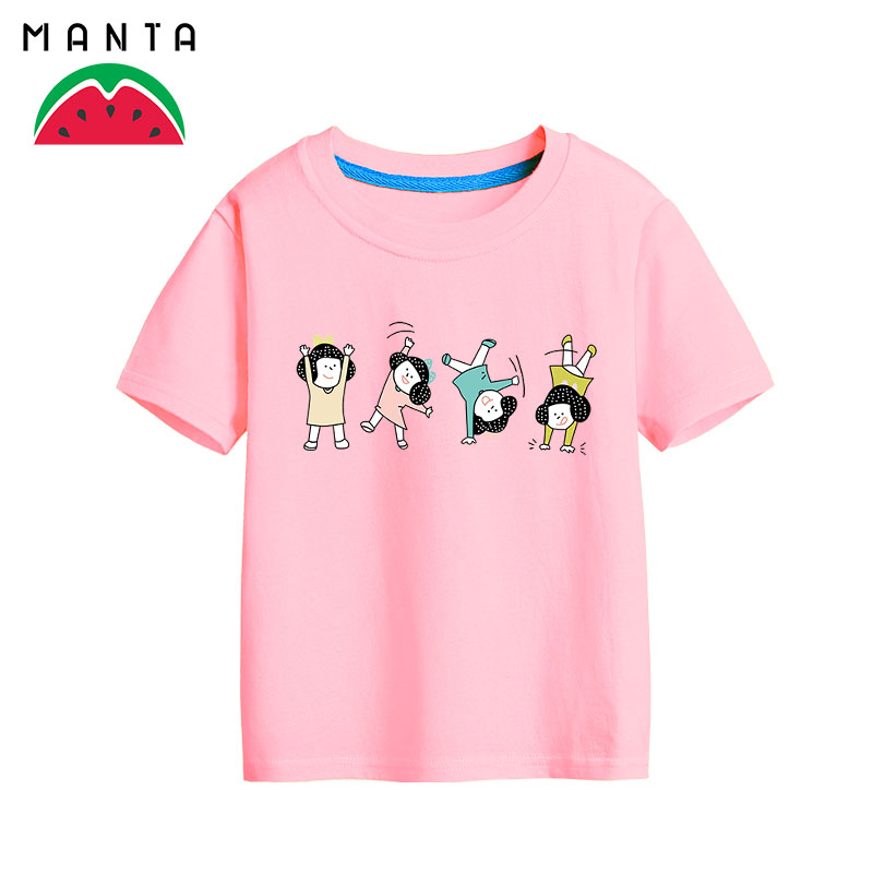 Man she tumble little girl cartoon cotton short sleeve t-shirt boys and girls casual child coat 2016 new summer