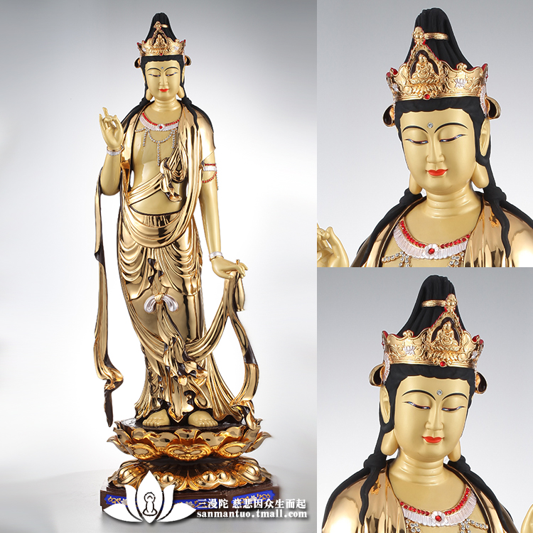Man tuo three k gilt taiwan copper buddha guanyin bodhisattva guanyin bodhisattva lotus buddha statues stand with ornaments