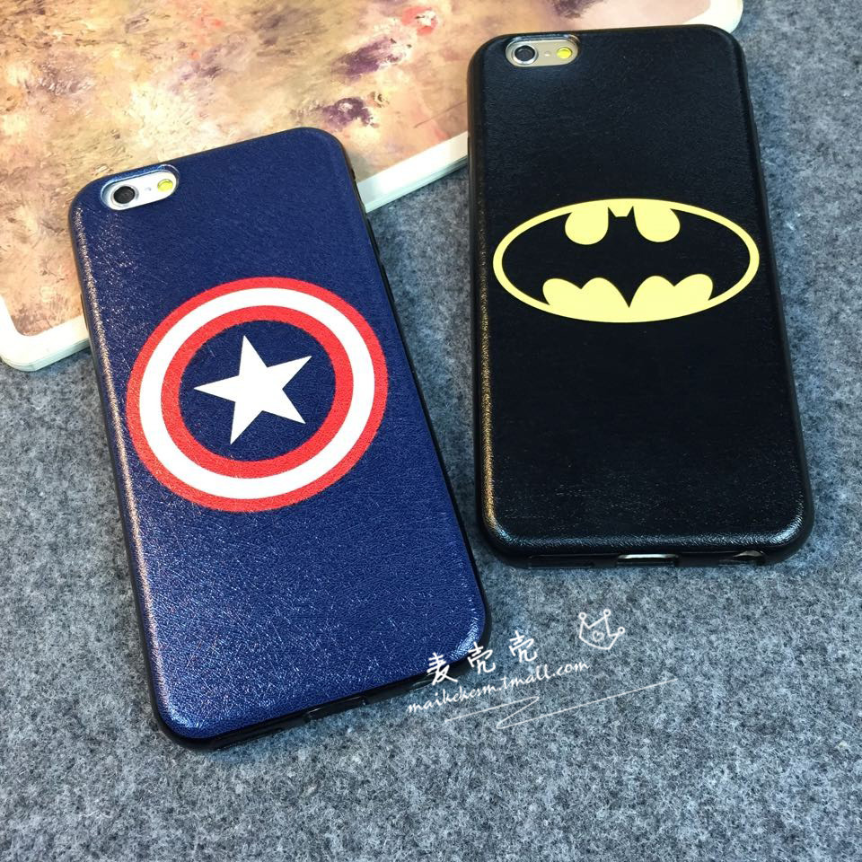 Man wei animation iphone6 silicone case apple phone shell casing 6 plus spiderman captain america