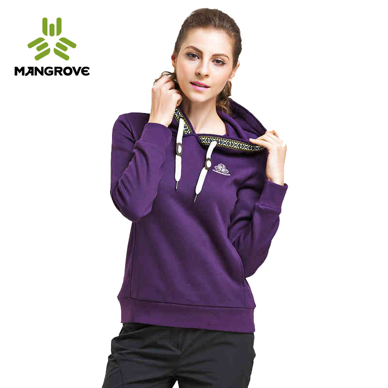 Mange fu mangrove outdoor casual warm hooded sweater female long sleeve shirts