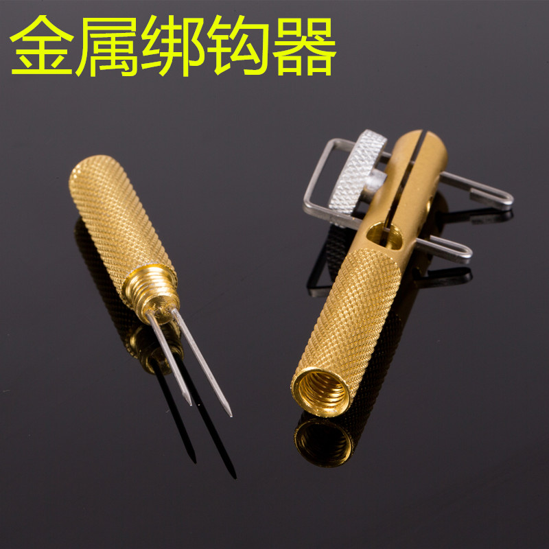 Manual metal hook is tied with double hooks can be tied to a small hook main strands knotting hook needle knot is tied hook device