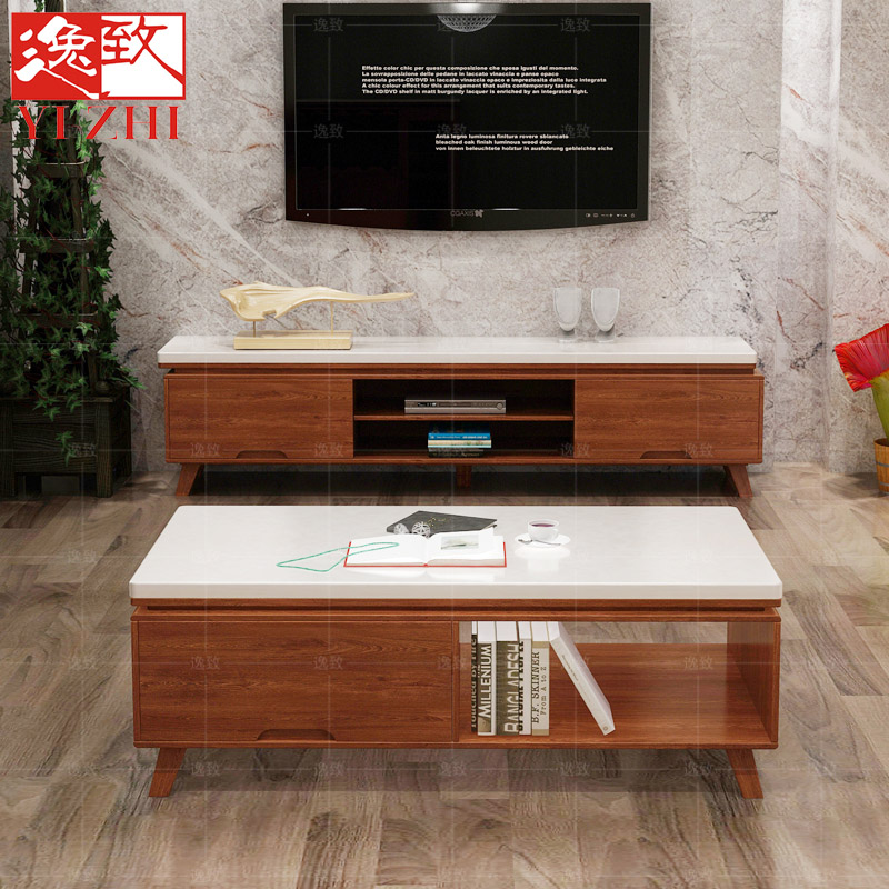 Marble tv cabinet tv cabinet modern minimalist small apartment cabinet nordic ikea solid wood tv cabinet tv cabinet coffee table combination