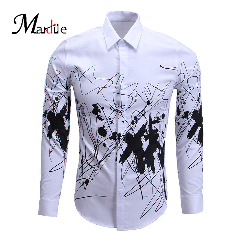 Mardile custom spring and summer 2016 men's slim shirt tide vintage european and american style long sleeve shirt new