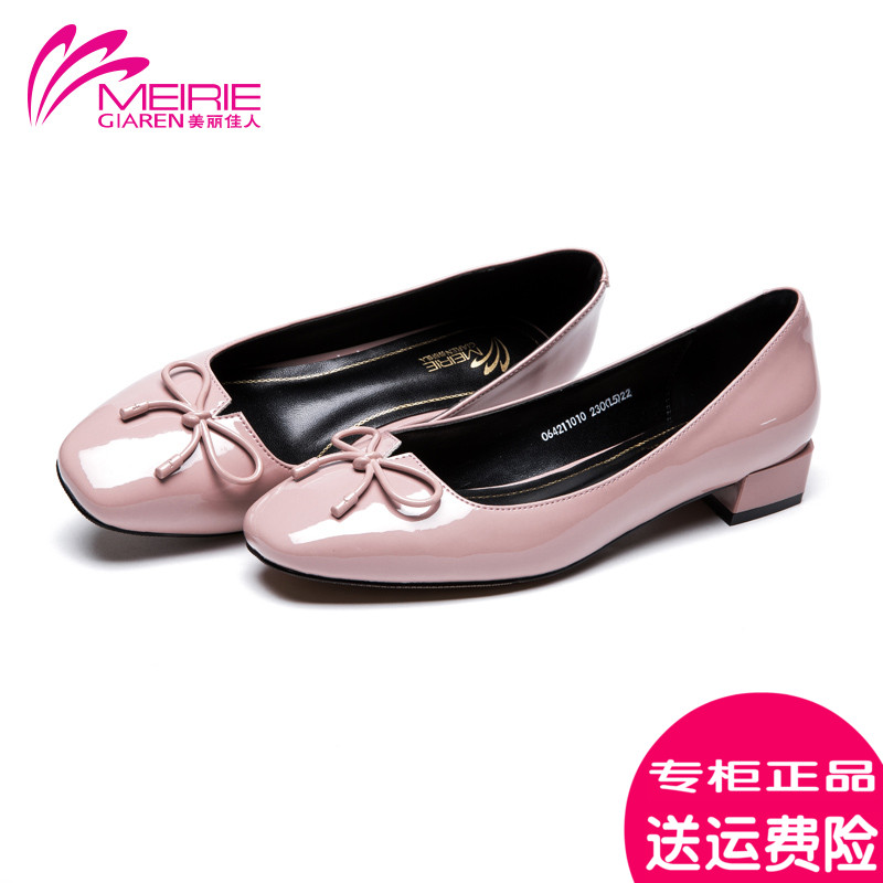 Marie claire o'connell 2016 autumn new wild shallow mouth bow square head shoes women shoes comfortable shoes with square