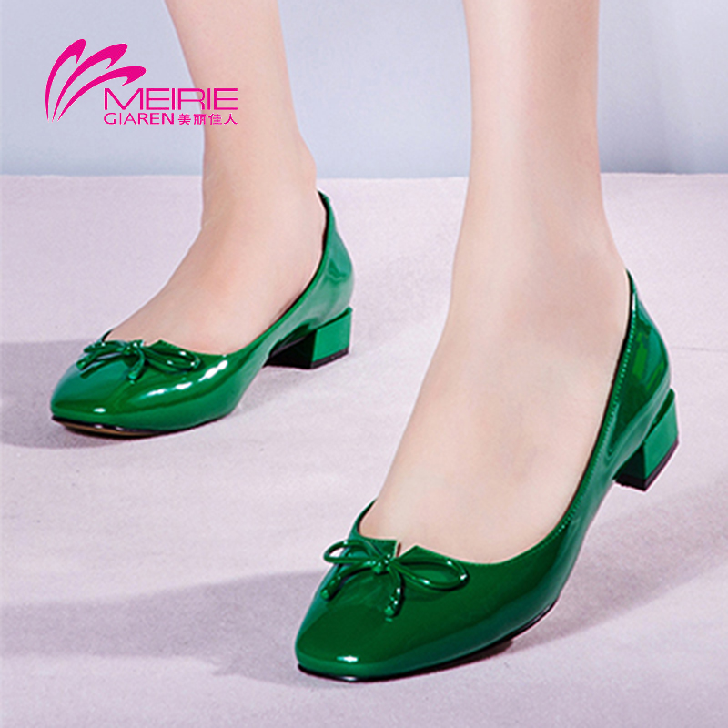 Marie claire o'connell's shoes 2016 new bow square head joker shallow mouth comfortable shoes square heel shoes