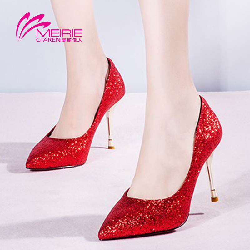 Marie claire o'connell's shoes genuine new female high heels pointed fine with shallow mouth shoes bridal wedding shoes