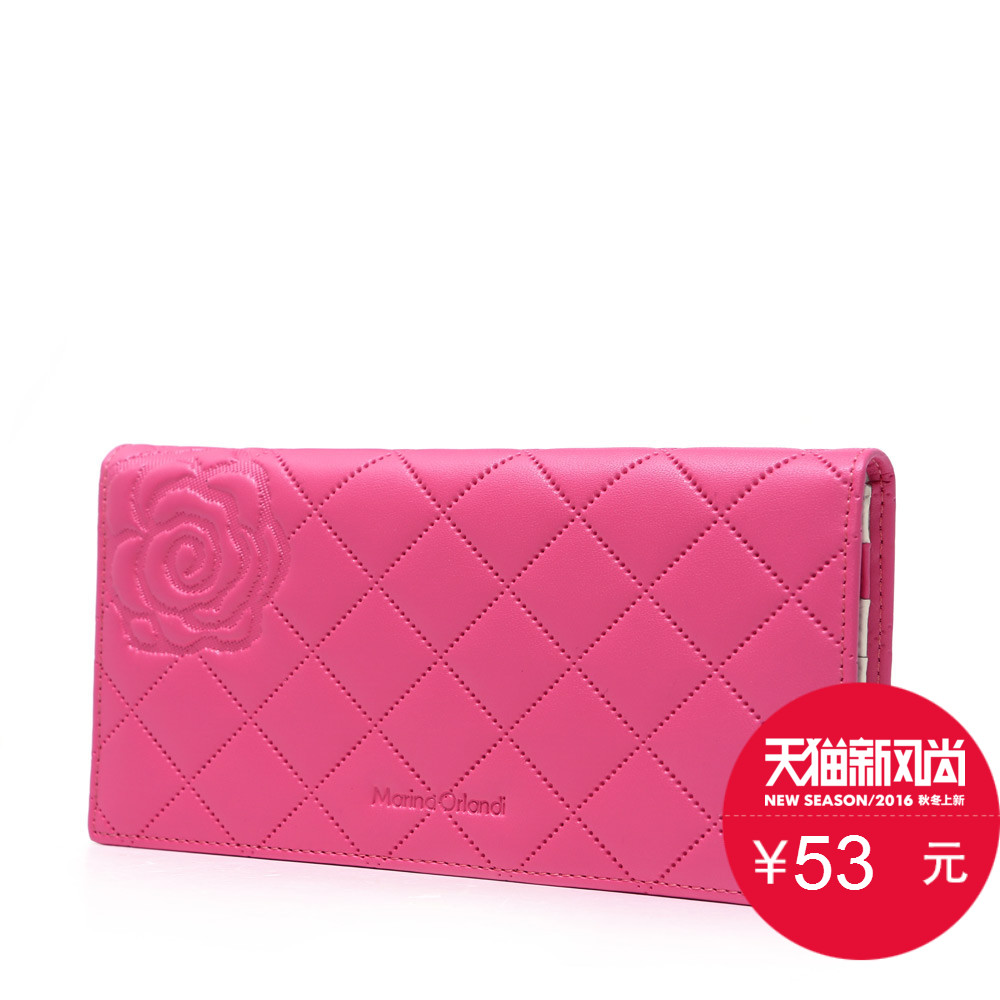 Marino genuine wallet 2016 new rose embossed gentlewoman classic quilted leather wallet long wallet