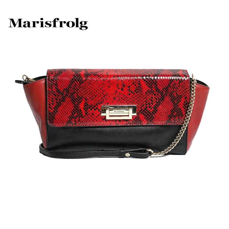 Marisfrolg masifeier elegant python handbag counter genuine spring new fashion hit color handbag
