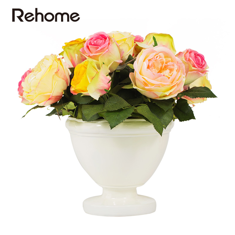 Markor rehome potted roses flower artificial flowers decorate the living room ornaments shu R1101000043